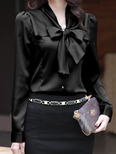 Black Single Breasted Bow Peter Pan Collar Long Sleeve Elegant Blouse