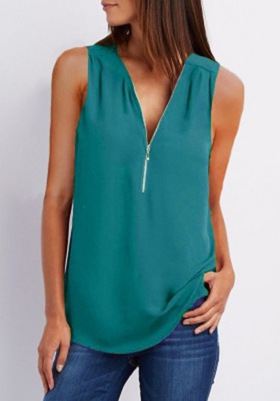 Blue Zipper V-neck Office Worker/Daily Casual Going out Blouse