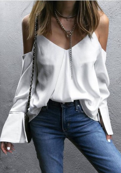 White Condole Belt Backless Slit V-neck Going out Blouse