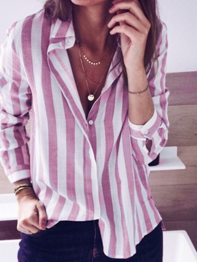 Pink Striped Print Buttons Long Sleeve Turndown Collar Fashion Blouse