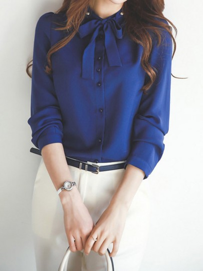 Blue Buttons Bow Collar Casual Chiffon Blouse