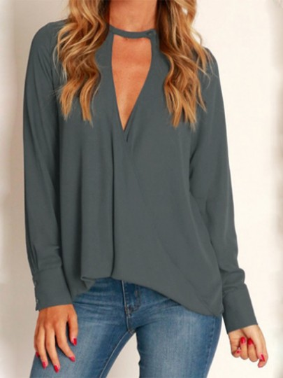 Grey Cut Out Buttons Round Neck Fashion Blouse