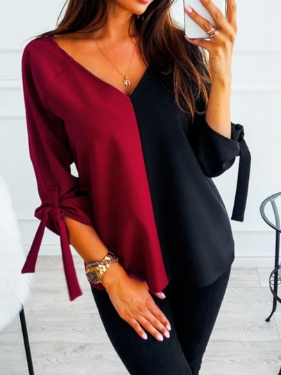 Red Color Block Print Lace-up V-neck 3/4 Sleeve Fashion Blouse