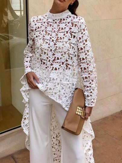 White Floral Lace Irregular High-low Long Sleeve Elegant Party Blouse