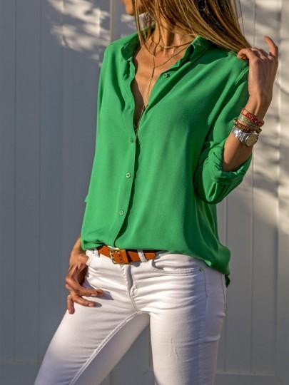 Grün Einreiher Knöpfen Umlegekragen Langarm Beiläufige Bluse Hemd Tops Oberteile Damen Mode