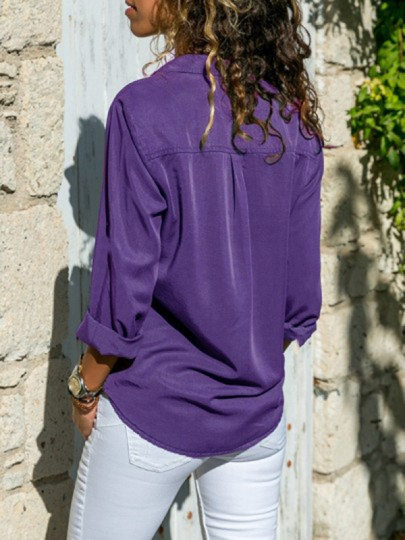 Purple Pockets Single Breasted Turndown Collar Long Sleeve Casual Blouse