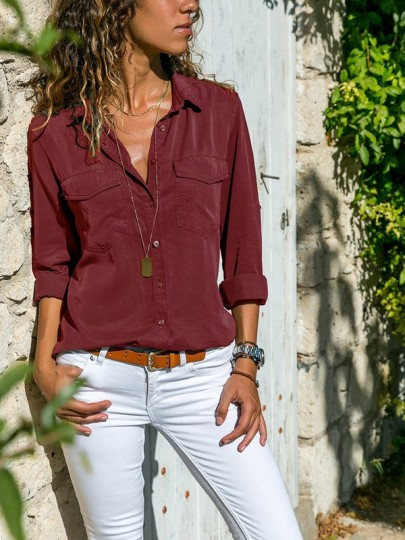 Wine Red Pockets Single Breasted Turndown Collar Long Sleeve Casual Blouse