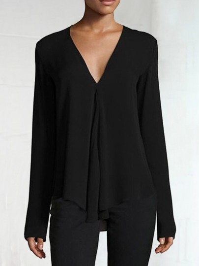 Black Draped V-neck Long Sleeve Fashion Chiffon Blouse