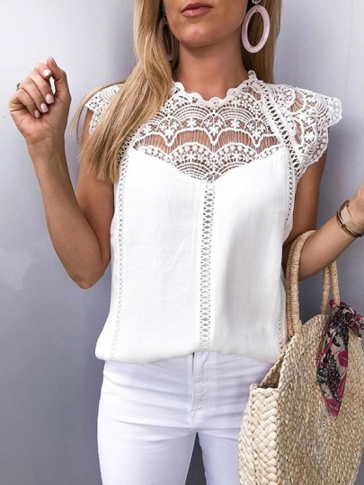White Patchwork Lace Hollow-Out Ruffle Sleeveless Round Neck Chiffon Elegant Blouse