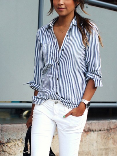 Navy Blue Striped Pockets Buttons Single Breasted Turndown Collar Long Sleeve Fashion Blouse