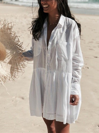 White Pockets Pleated Draped Single Breasted Turndown Collar Long Sleeve Fashion Blouse