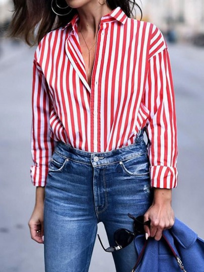 Red-White Striped Single Breasted Turndown Collar Long Sleeve Fashion Blouse