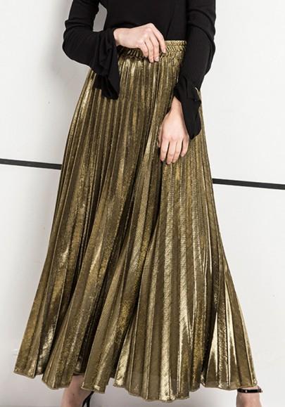 Jupe longue plissé métallisée taille élastiques mode élégant femme dorée
