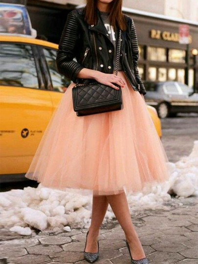 Champagne Grenadine Fluffy Puffy Tulle Plus Size High Waisted Homecoming Party Tutu Midi Skirt