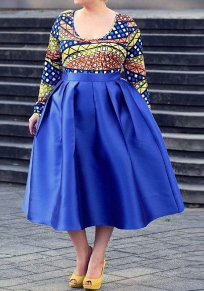 Royal Blue Pleated Pockets High Waisted Skater Elegant Homecoming Party Tutu A-Line Skirt