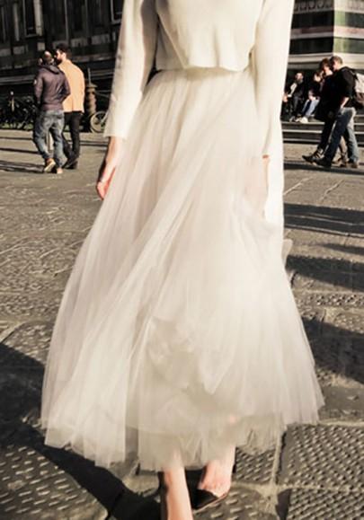 Jupe longue en tulle plissé taille élastique tutu élégant blanche femme