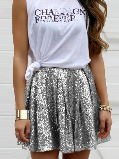Silver Patchwork Sequin Glitter Pleated Cute Sweet Elastic Waist Birthday Homecoming Party NYE Mini Skirt