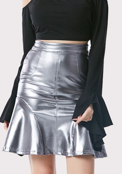 Silver Pleated Zipper High Waisted Sweet Party Going Out Skirt