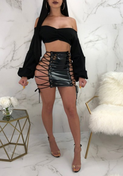 Black Drawstring Cut Out PU-Leather Lace-up Latex vinyl Clubwear Party Skirt