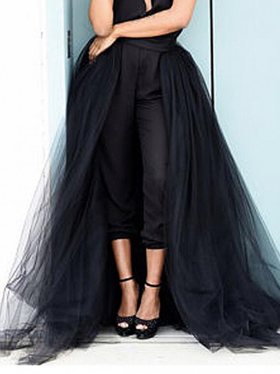 Black Grenadine High Waisted Slit Fluffy Puffy Wedding Gowns Homecoming Bridesmaid Party Overlay Tutu Skirt