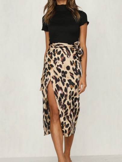 Brown Leopard Print Cut Out Belt Elastic Waist Skirt