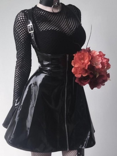 Black Shoulder-Strap Pu Leather High Waisted Rosatic Witch Skater Tutu Vintage Overall Skirt