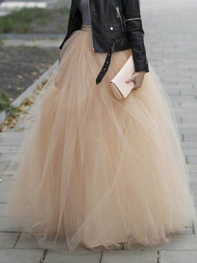 Jupe longue plissé bouffante tutu en tulle élégant femme abricot