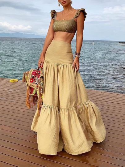 Khaki Pleated High Waisted Big Pendulum Bohemian Beachwear Long Skirt