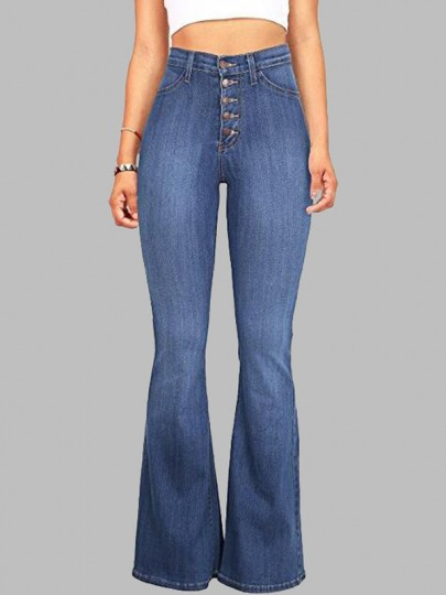 Light Blue Buttons Pockets Vintage Bell-bottoms High Waisted Casual Long Jeans
