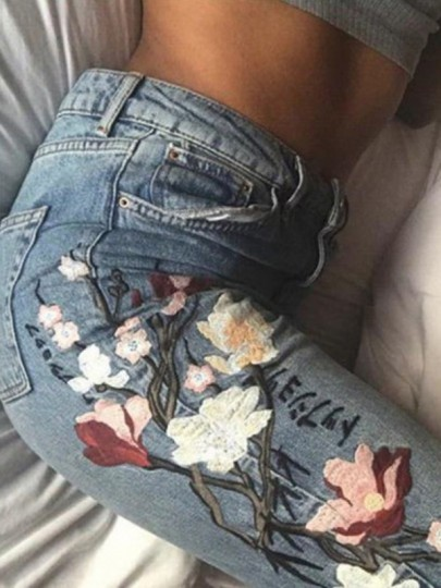 Blue Patchwork Embroidery Buttons Pockets Casual Long Jeans