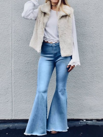 Light Blue Pockets Buttons High Waisted Mom Flare Vintage Bell Bottom Long Flare Jeans