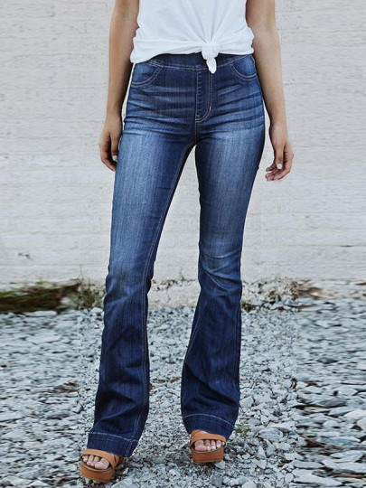 Dark Blue Pockets Mid-rise Fashion Casual Push Up Long Flare Bell Jeans