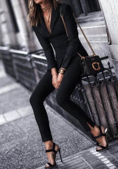 Leggings poches élastique mode longue noir