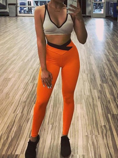 Neon Orange Patchwork Ruched Irregular High Waisted Yoga Sports Long Legging
