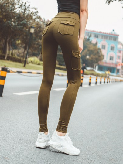 Green Pockets Buttons High Waisted Casual Long Legging