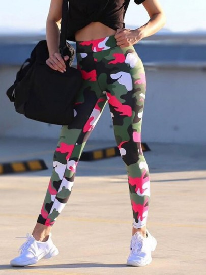 Green-Red Camouflage Pattern High Waisted Sports Yoga Long Legging