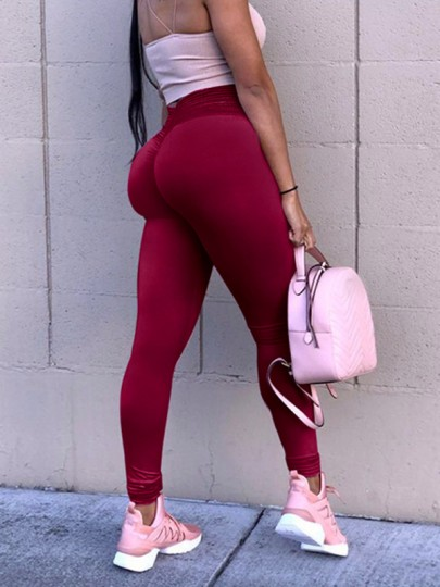 Weinrot Geraffte Butt mit Spitze Hohe Taille Yoga Sport Fitness Skinny Push Up Leggings Damen