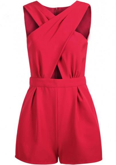 Rot Crossover Cut Out Taschen Hohe Taille Kurz Jumpsuit Kuschel Overall Damen Mode