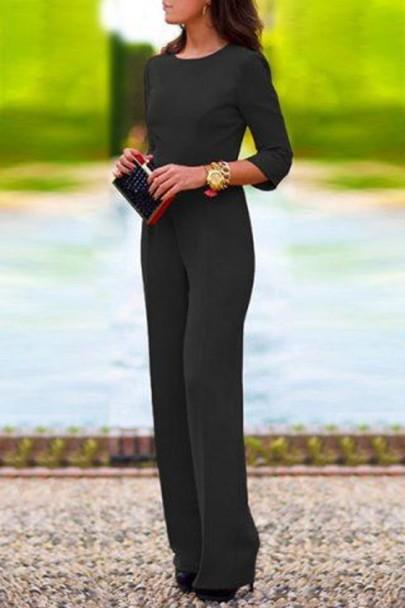 Combinaison longue de bureau dos nu manches 3/4 mode élégant noir femme