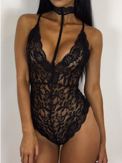 Black Lace Hollow-out See-through Sexy Bodysuits Elastic Waist Short Jumpsuit
