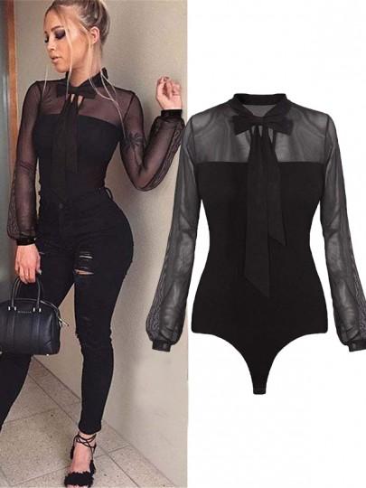 Bodysuit grenade transparent col lavallière manches longues slim mode combinaison shorts noir