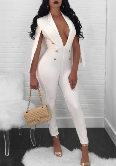 White Double Breasted Cape Deep V-neck High Waisted Cocktail Party Long Jumpsuit