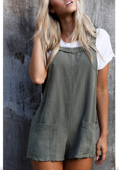 Grey Pockets Shoulder-Strap Lace-up Going out Casual Shorts Overall Pants