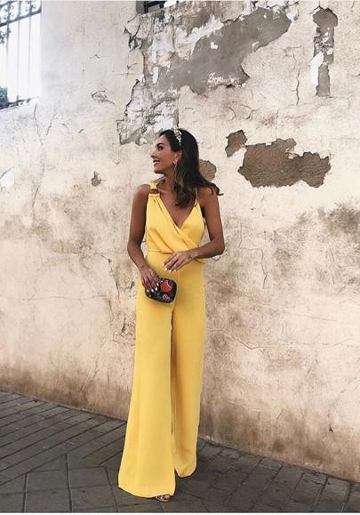 Cichic combinaison longue large pantalon v-cou sans manches élégant femme jaune