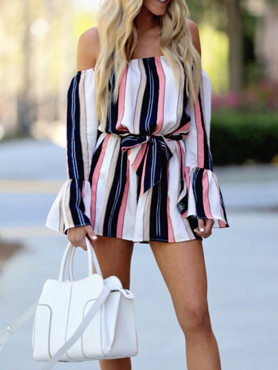 Dark Blue Striped Print Sashes Off Shoulder Backless Fashion Short Jumpsuit