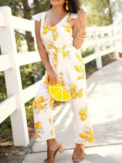 White Lemon Print Sashes Ruffle Backless High Waisted Deep V-neck Sweet Tropical Long Jumpsuit
