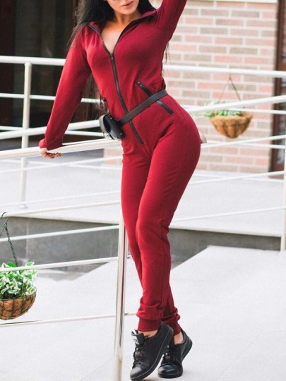 Red Pockets Zipper Hooded High Waisted Sports Long Jumpsuit