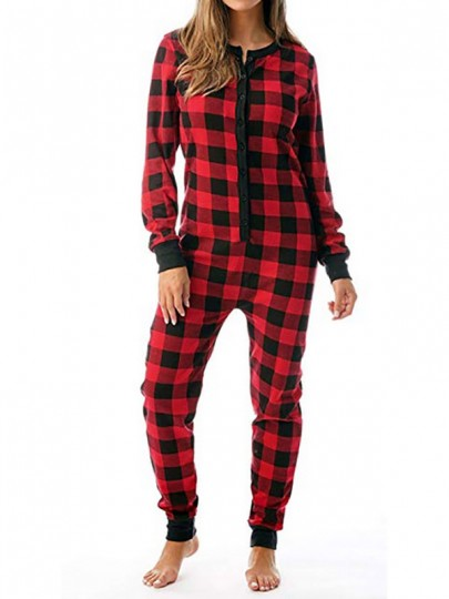 Red-Black Plaid Buttons Flannel Long Sleeve Christmas Pajamas Sleeping Long Jumpsuit Pants