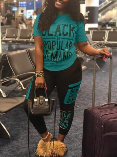 """Blue """"BLACK POPULAR DEMAND"""" Print Pockets Two Piece Going Out Casual Long Jumpsuit"""