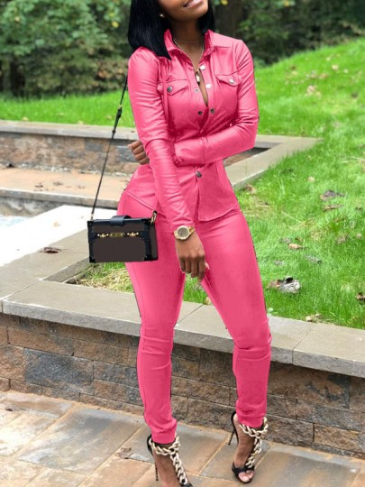 Pink Buttons Pockets Two Piece Bodycon Long Sleeve PU Leather Latex Vinyl Casual Party Long Jumpsuit